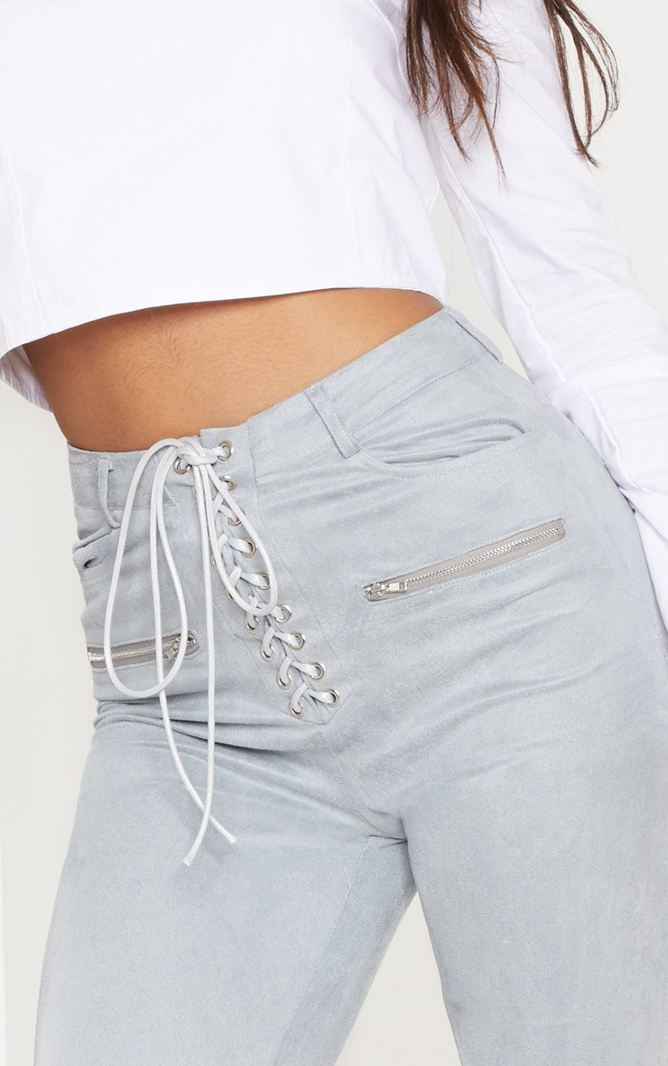 Grey Faux Suede Lace Up Front Skinny Leg Trouser 5