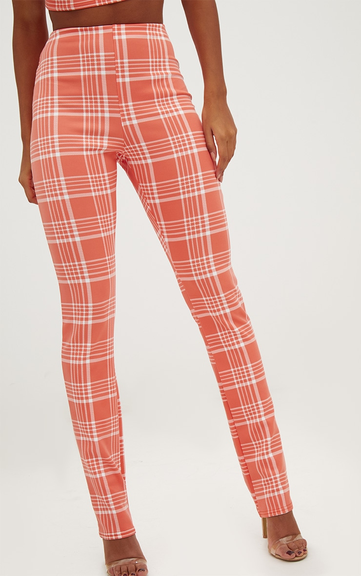 Orange Check Print Tapered Trousers  5
