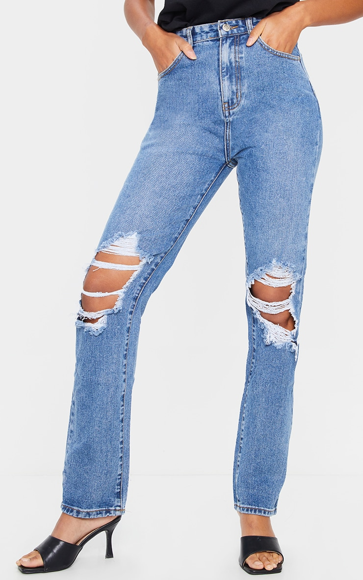 Mid Blue Wash Ripped Knee Long Leg Straight Jeans 2
