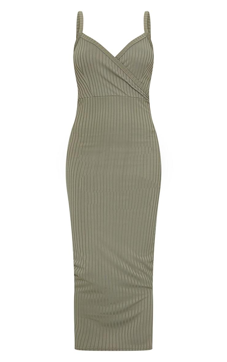 Olive Khaki Ribbed Wrap Front Strappy Midi Dress 5