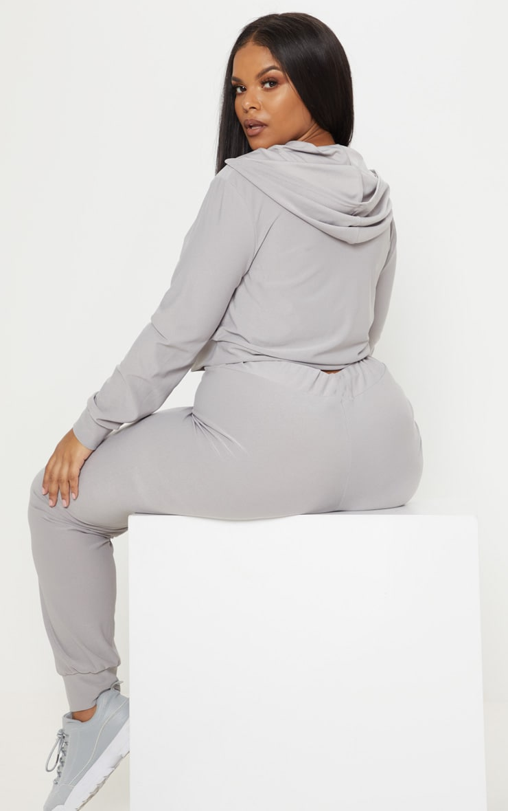 Plus Grey Marl Cropped Hoodie Top 2