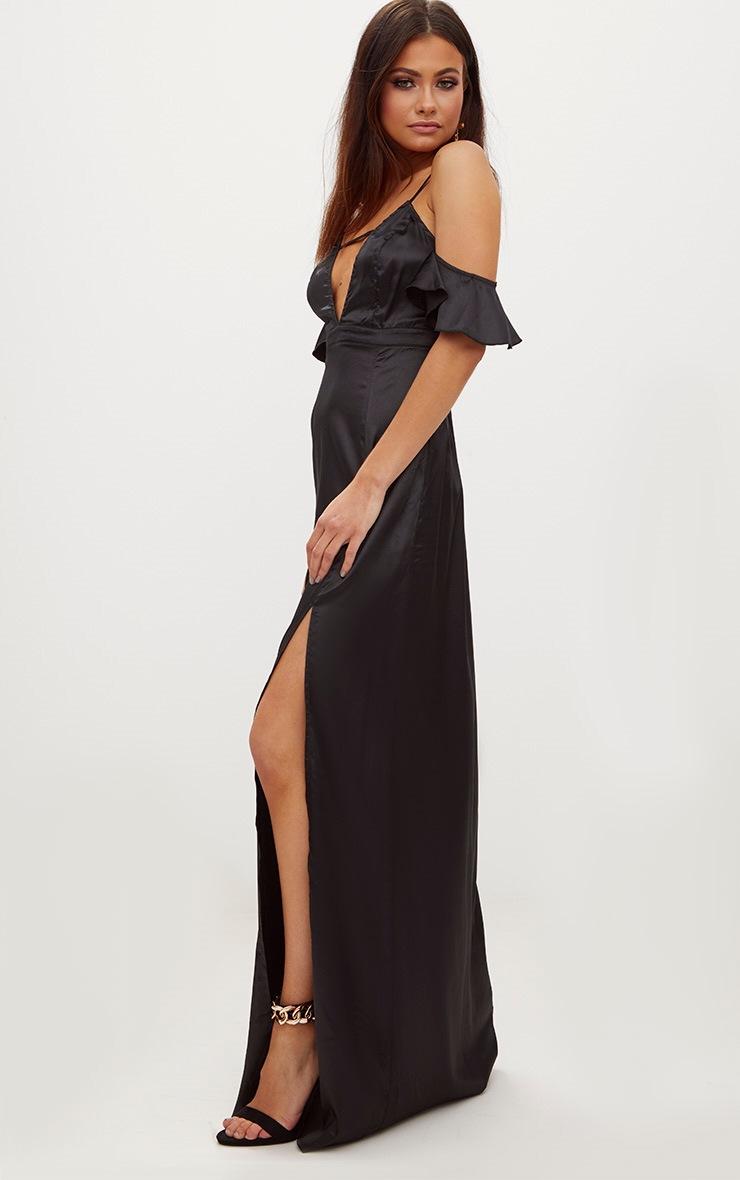 Black Frill Sleeve Split Detail Satin Maxi Dress 4