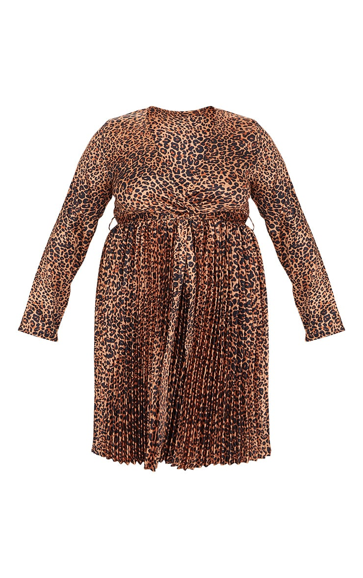 Plus Brown Leopard Print Long Sleeve Pleated Midi Dress 5