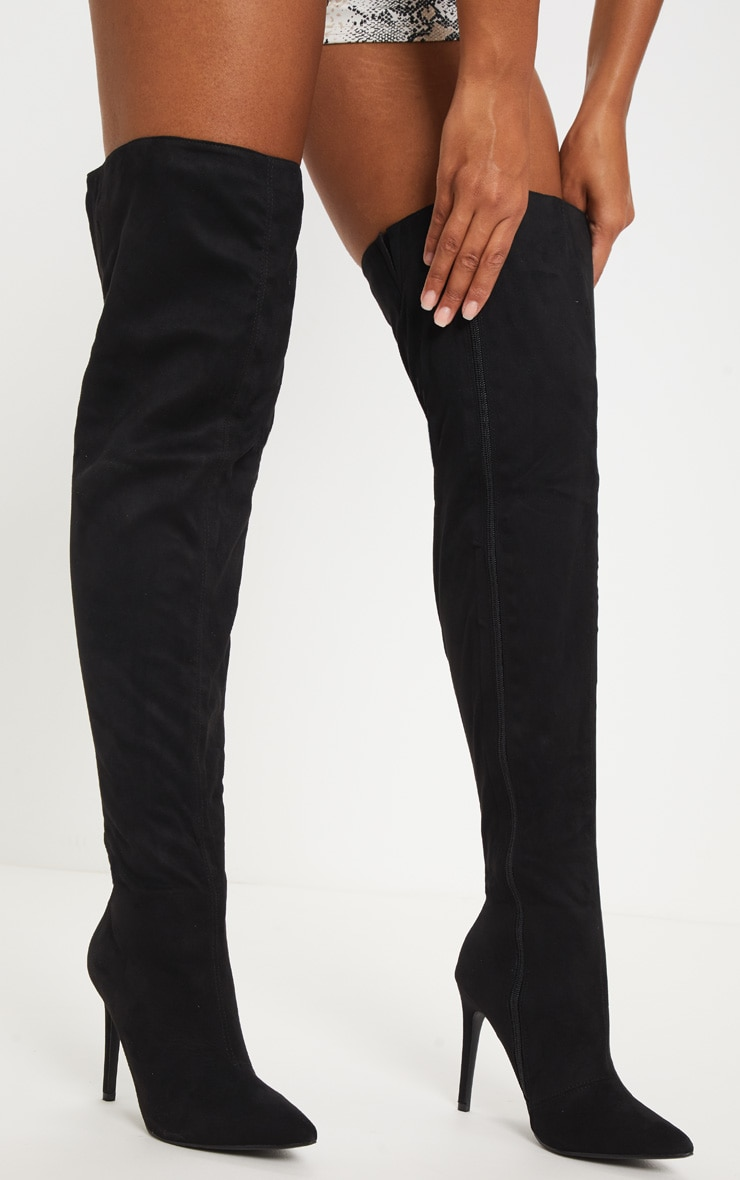 Black Thigh High Point Sock Boot 2