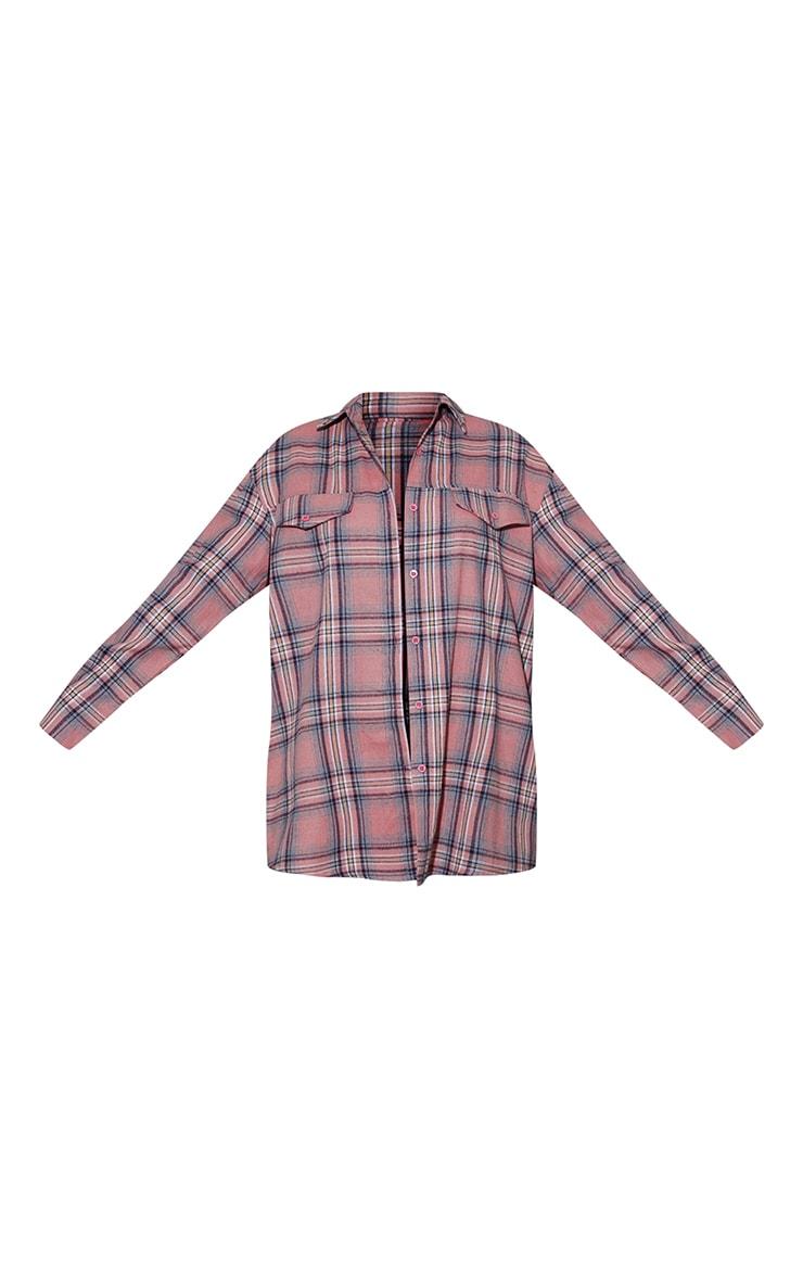 Blush Tartan Checked Flannel Pocket Detail Oversized Shirt 5