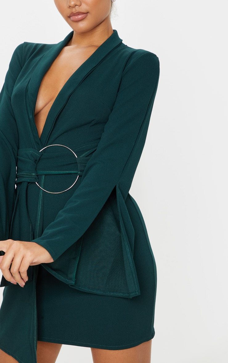 Emerald Green Oversized Ring Detail Blazer Dress 5