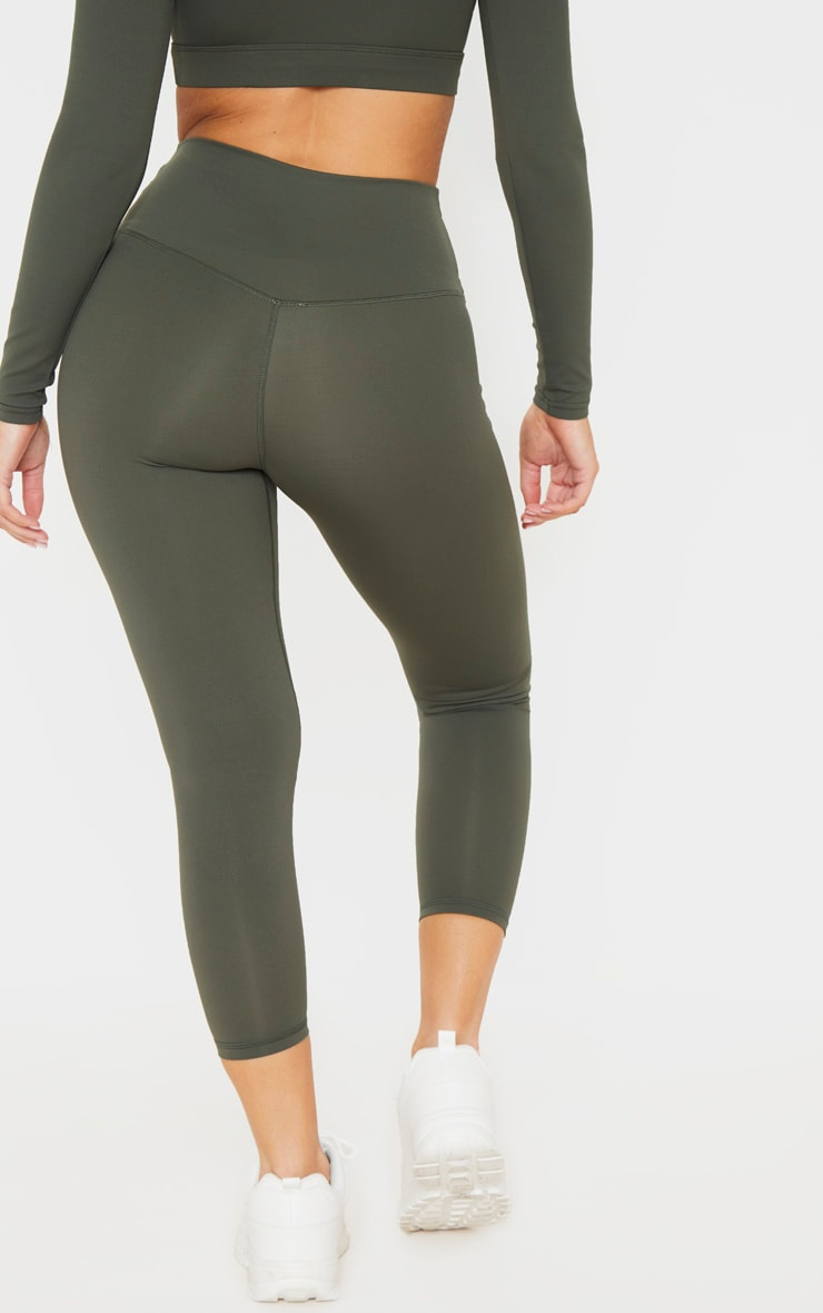 Khaki Sculpt Luxe Cropped Gym Legging 3