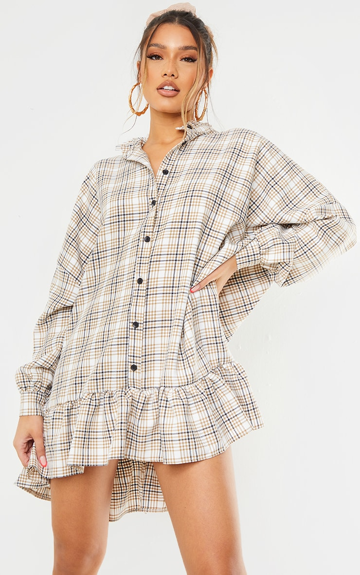 Stone Check Print Frill Hem Collar Detail Shirt Dress 1