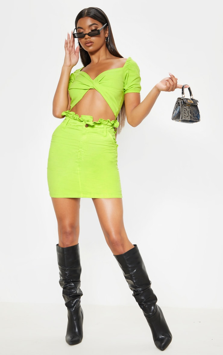 Neon Lime Frill Paperbag Denim Skirt  1