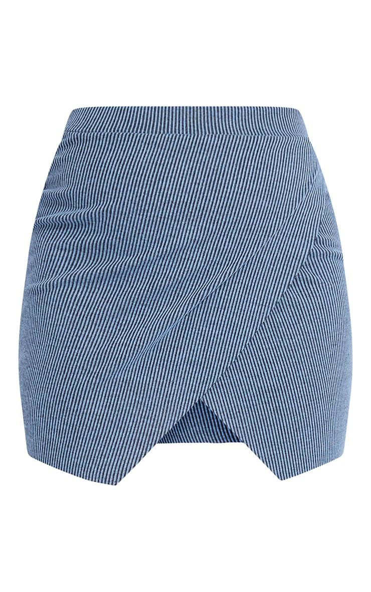 Blue Contrast Rib Wrap Mini Skirt 6