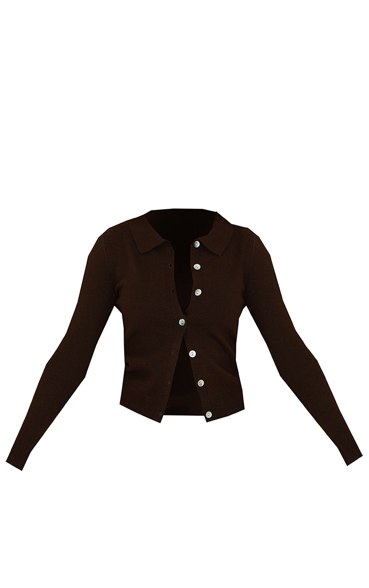 Chocolate Cosy Knit Button Up Collared Cardigan 5