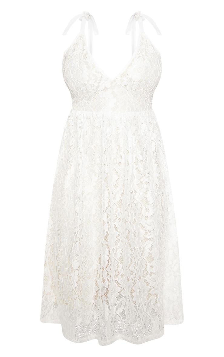 White Lace Strappy Plunge Midi Dress 4