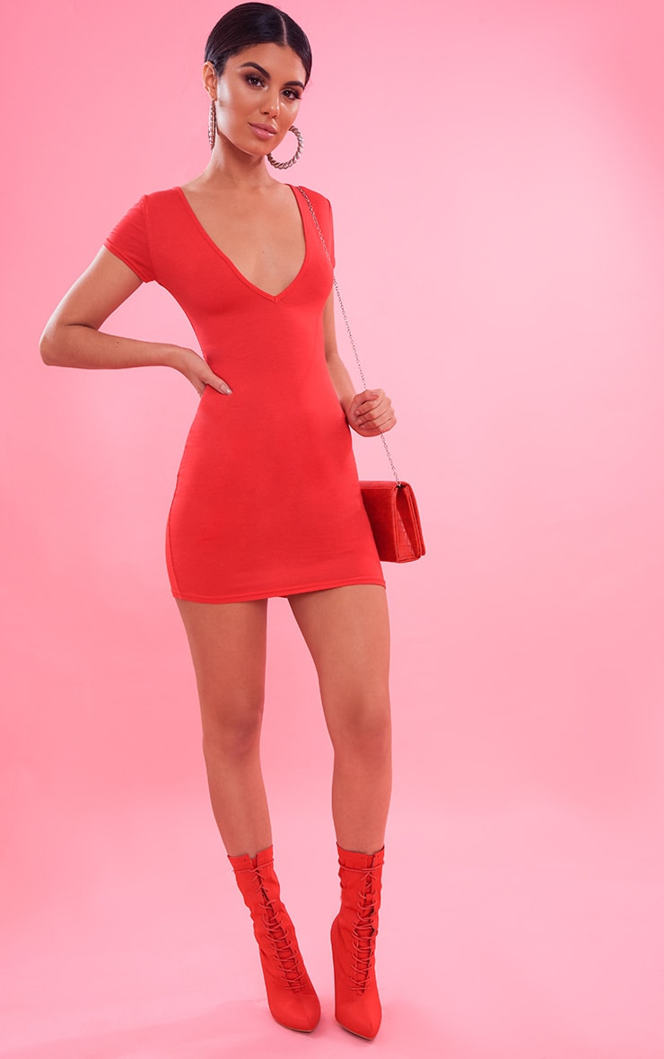 Red Plunge Front Cap Sleeve Bodycon Dress 2