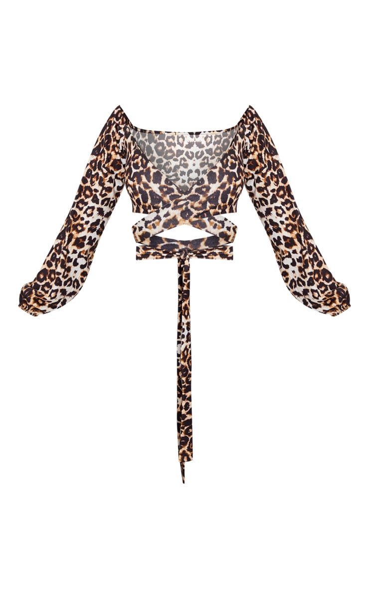 Shape Brown Leopard Print Tie Front Crop Top 3