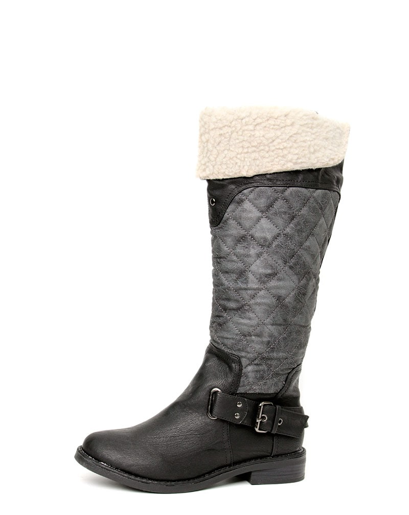 Manda Quilt & Shearling Knee Boot  3