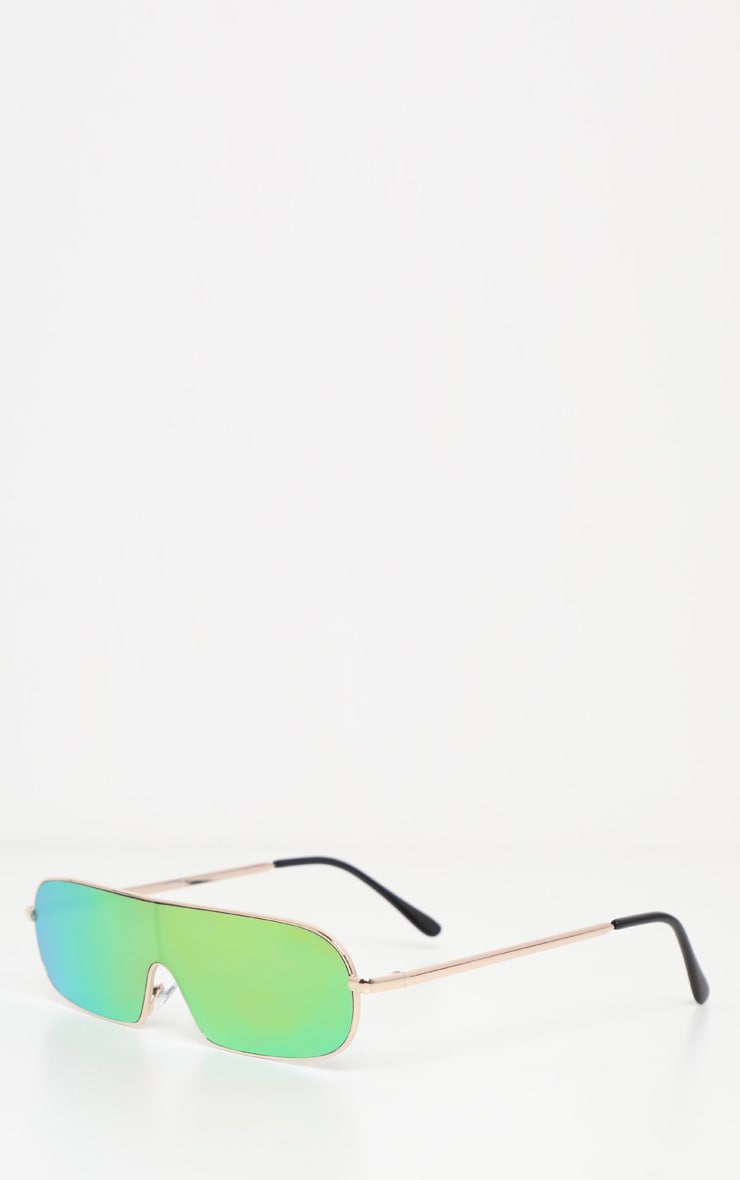 Green Sporty Gold Frame Sunglasses 2