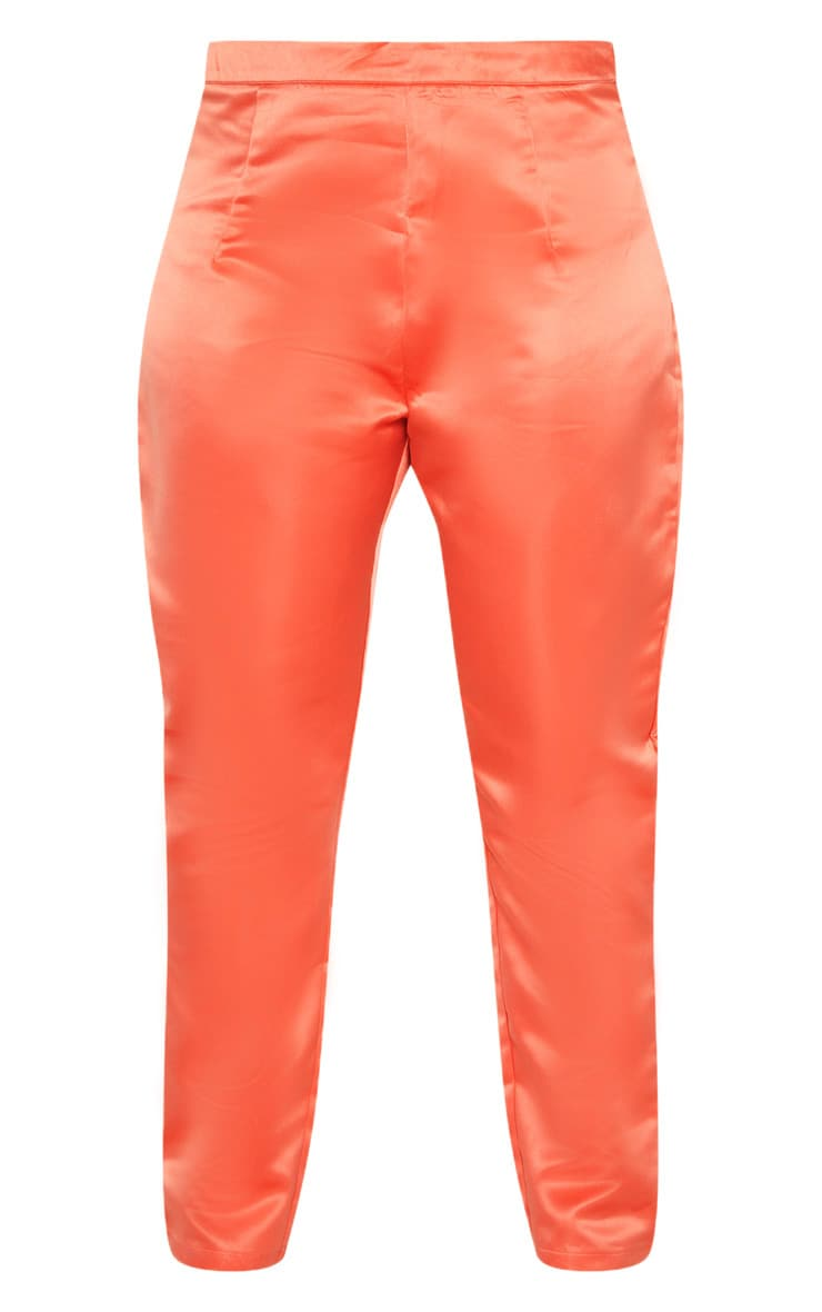 Plus Peach Tailored Satin Straight Leg Trouser  3