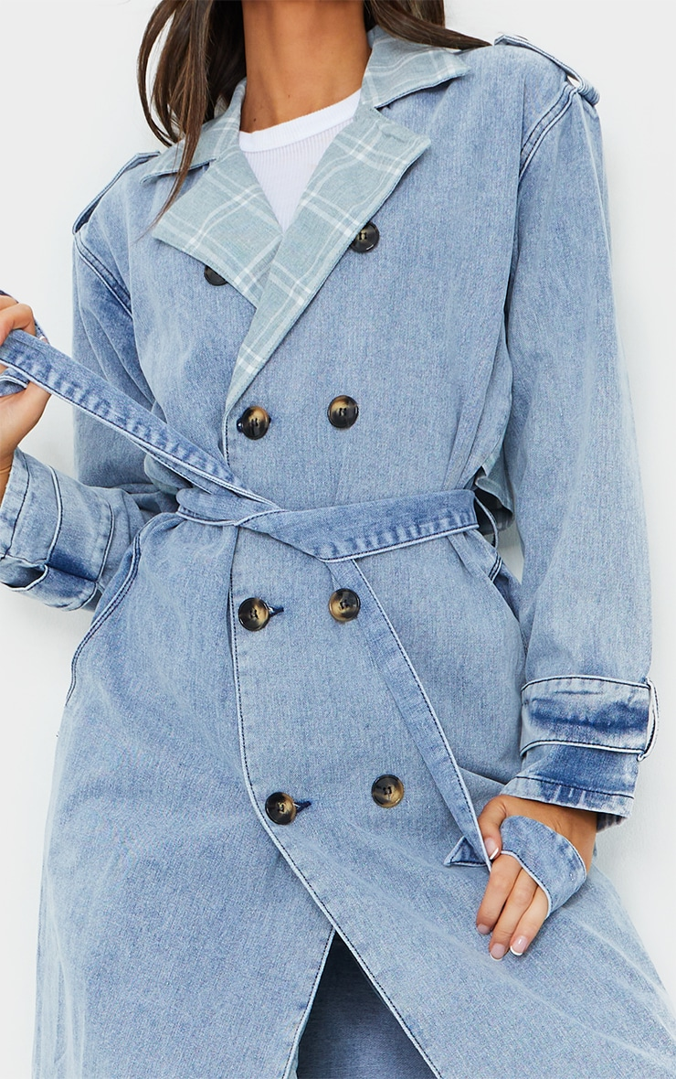 Vintage Wash Mixed Check Detail Longline Denim Trench Coat 4