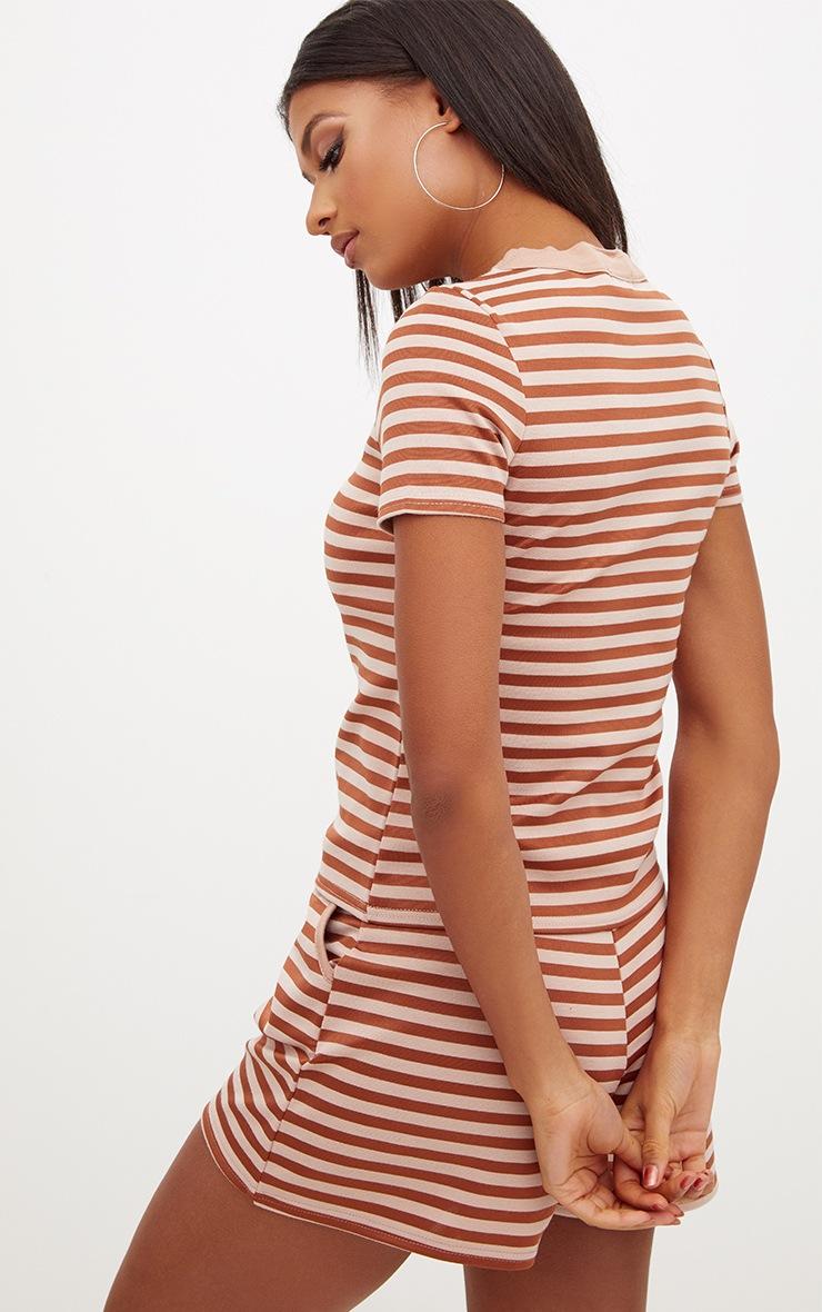 Bronze Scuba Stripe Boxy T Shirt 2