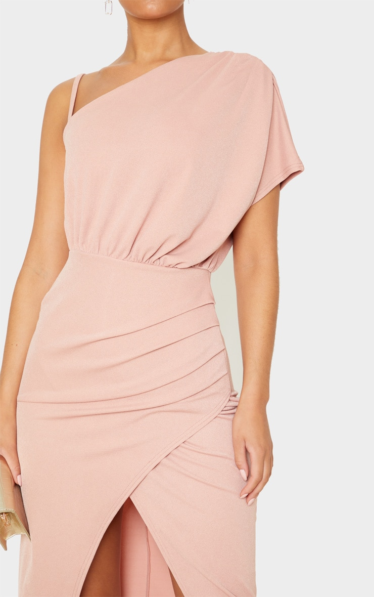Dusty Pink Drape Detail One Shoulder Midi Dress 5