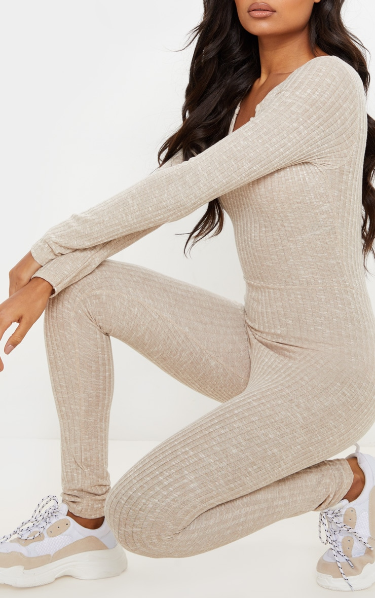 Oatmeal Open Neck Fitted Jumpsuit 6