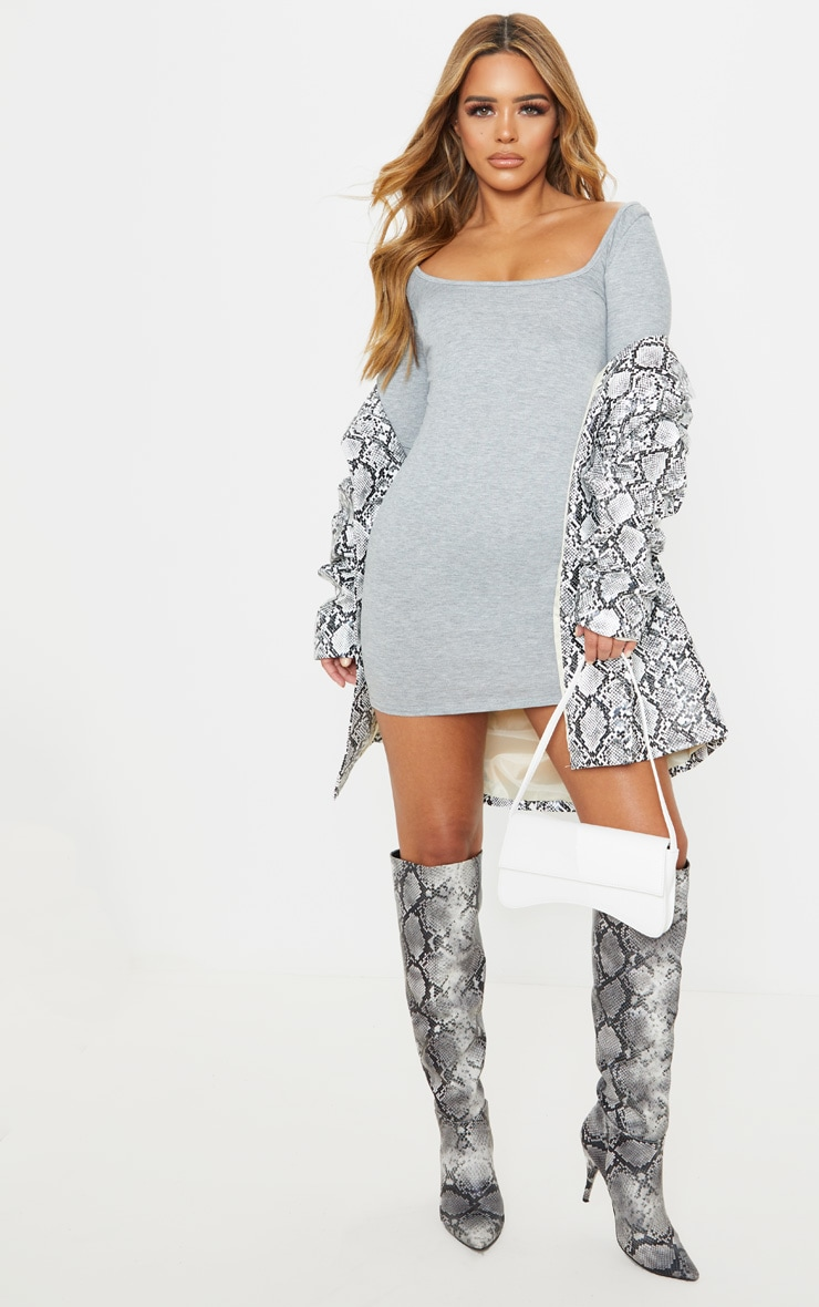 Petite Grey Marl Long Sleeve Jersey Mini Dress 3