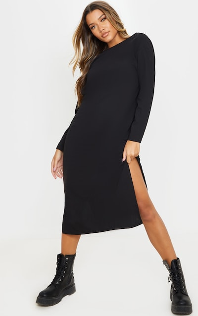 Black Long Sleeve V Back Detail Oversized Midi Dress