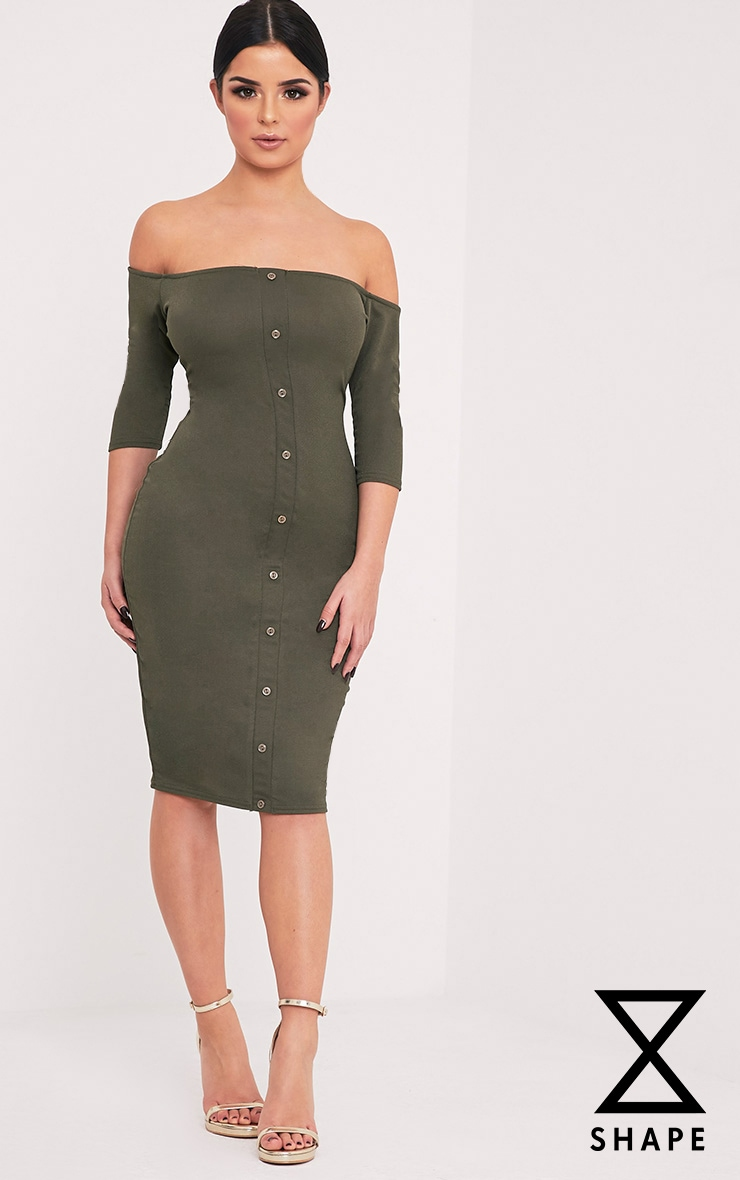 Shape Laurenna Khaki Bardot Button Midi Dress  1