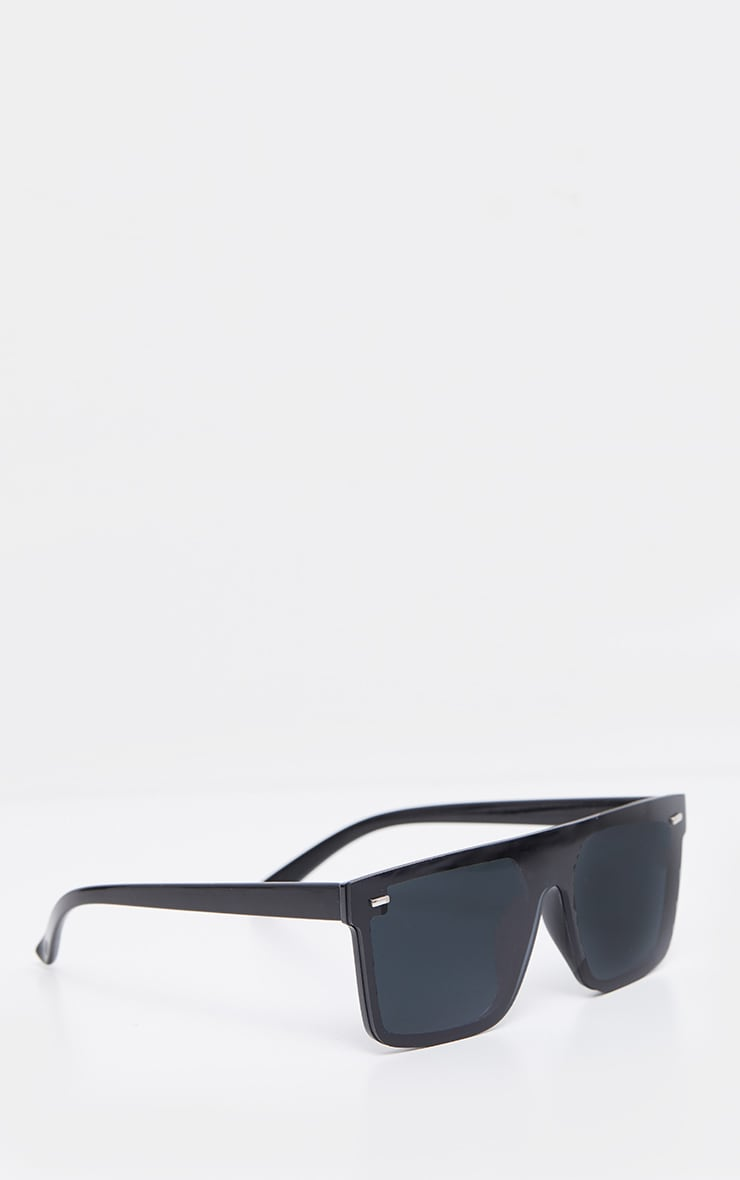 Black Oversized Resin Frame Fade Lens Sunglasses 3