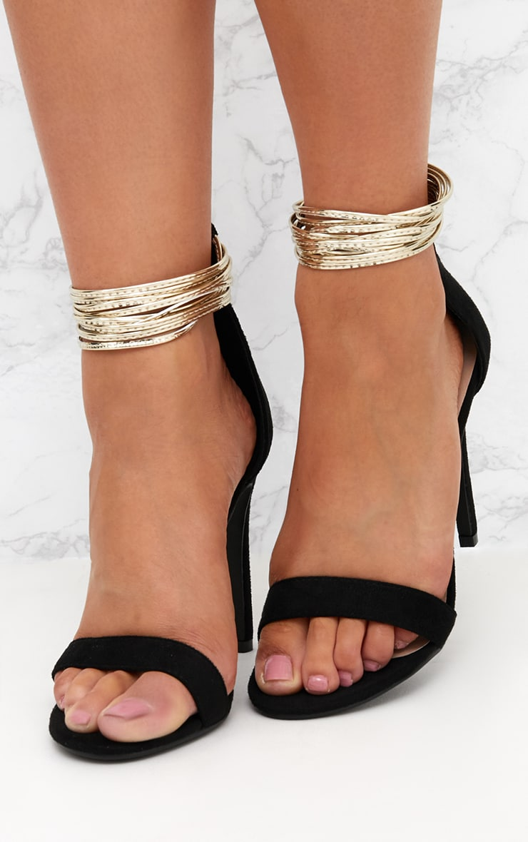 Black Metallic Cuff Detail Sandal 2