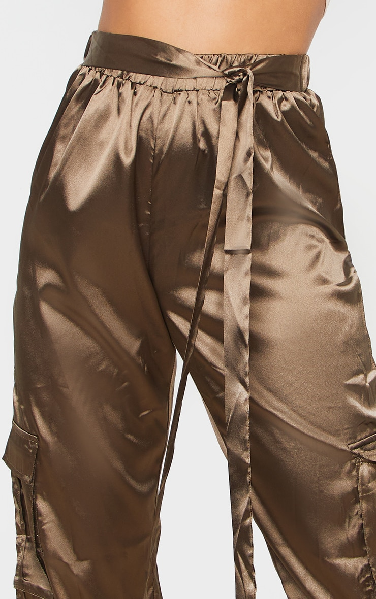 Petite Khaki Satin Cargo Trouser 5