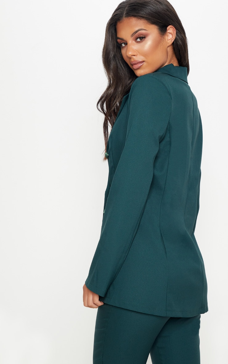 Dark Green Triple Breasted Oversized Blazer 2