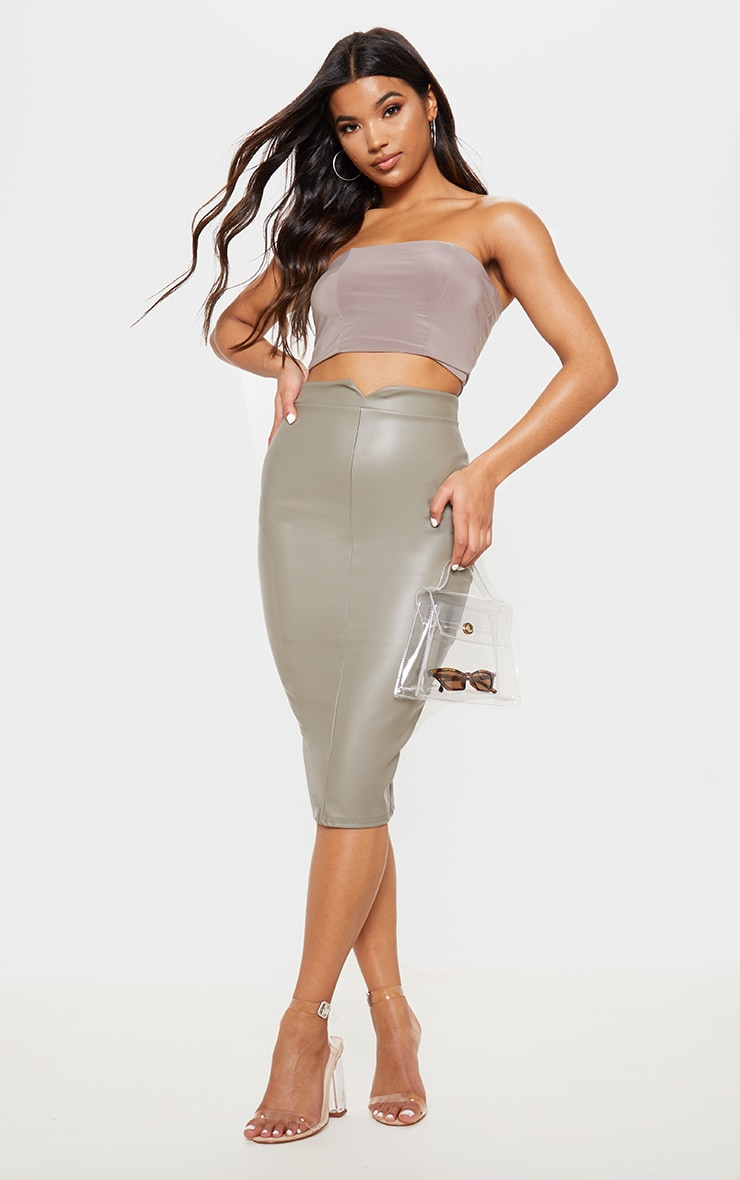 Eva Taupe Faux Leather Panel Midi Skirt 1
