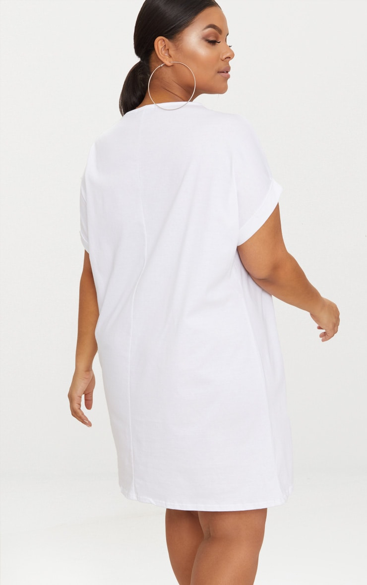 Plus White Oversized Roll Sleeve T-Shirt Dress 2