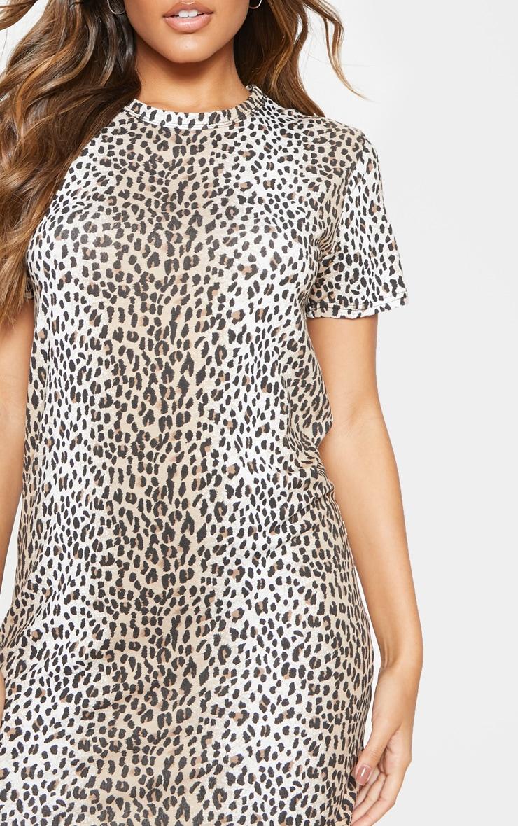 Basic Leopard Print Short Sleeve T shirt Dress  5