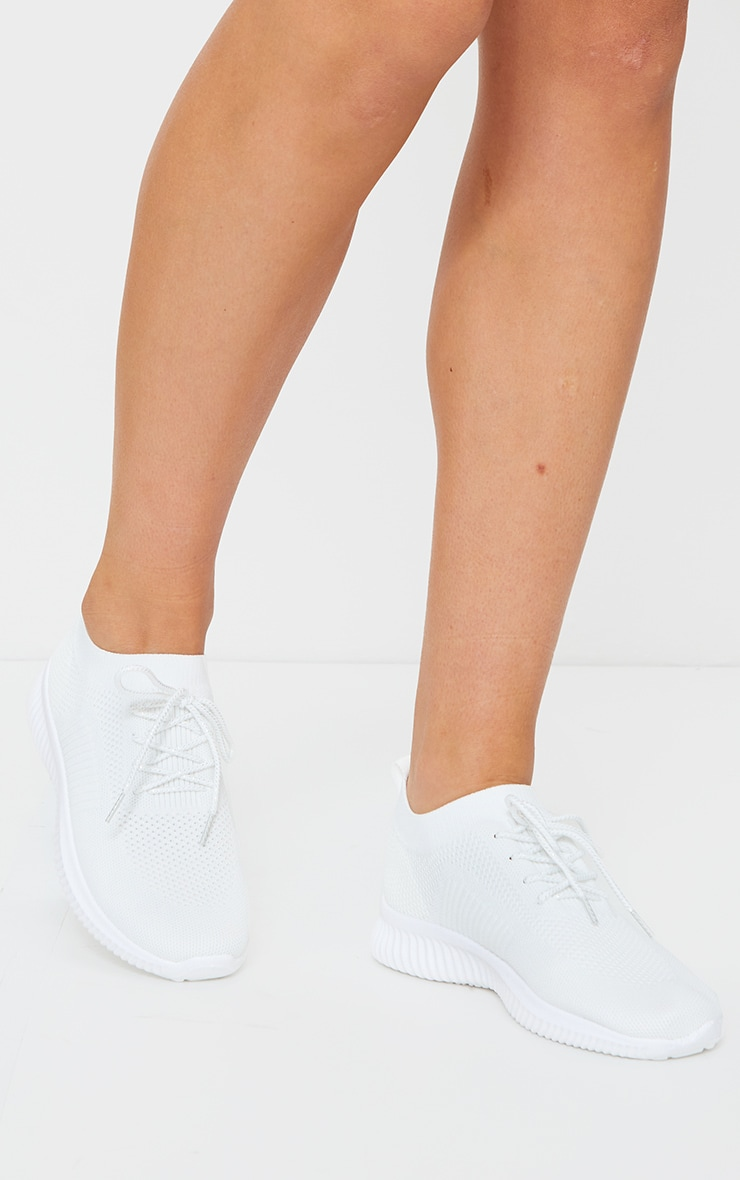 White Basic Knitted Sneakers 2