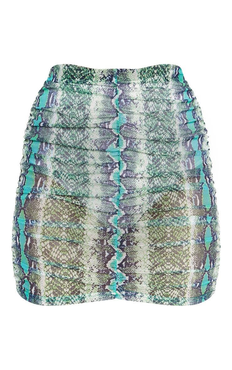 Green Mesh Snake Print Ruched Mini Skirt 3