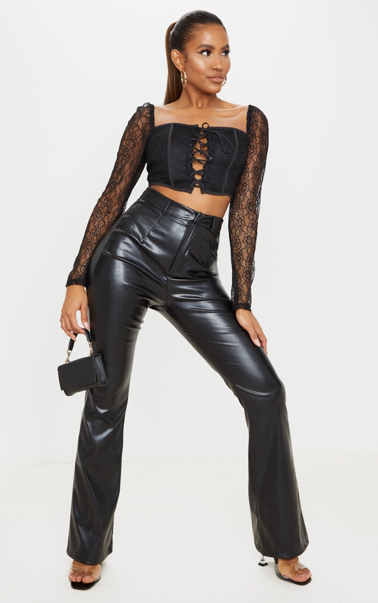 Black Lace Curved Hem Lace Up Long Sleeve Top 3