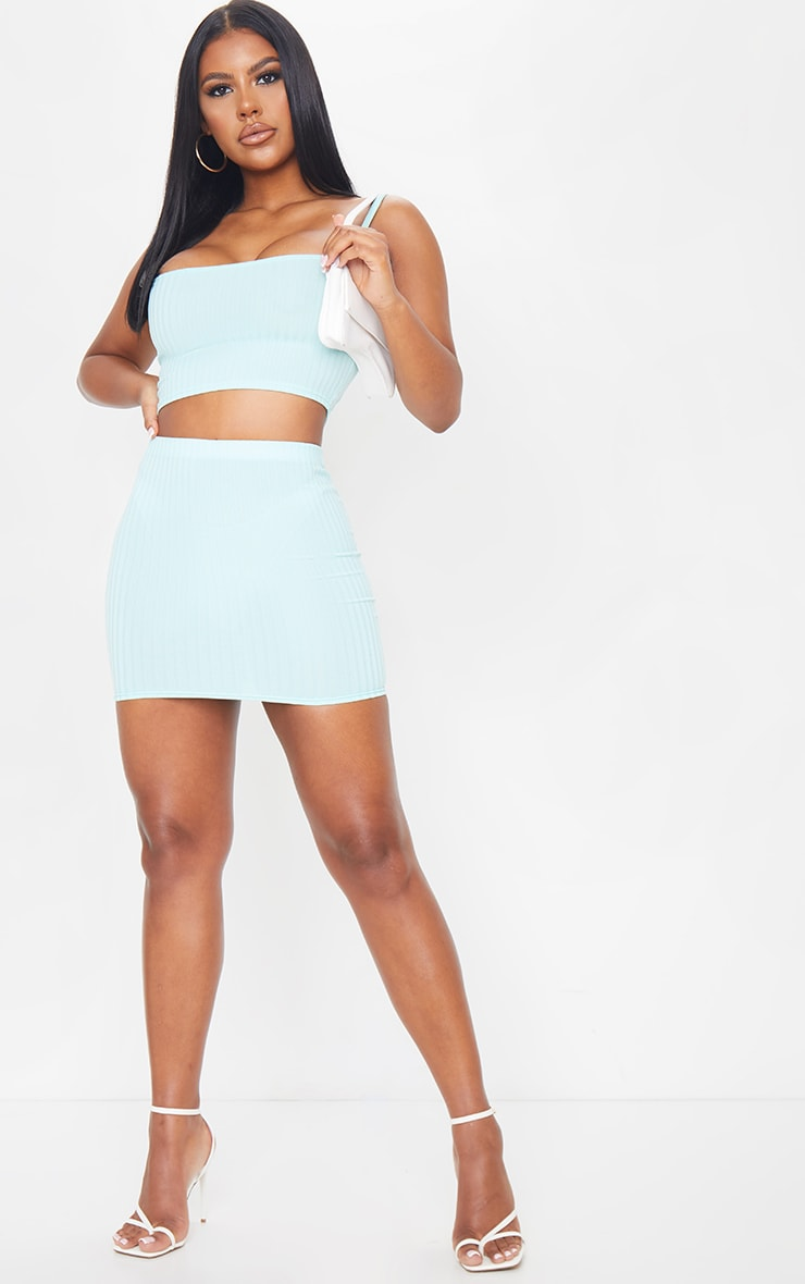 Mint Rib Square Neck Crop Top 3