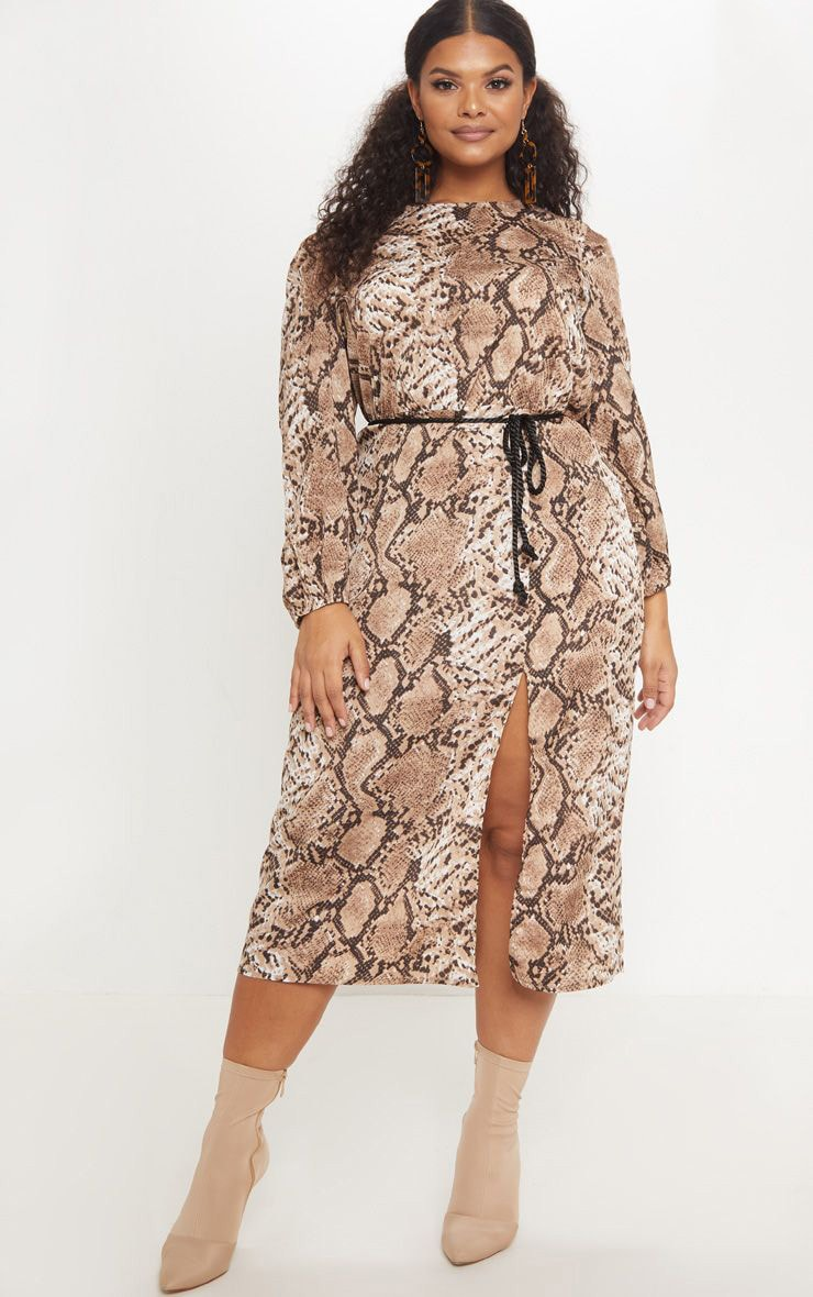 Plus Taupe Tie Waist Snake Print Midi Dress 1