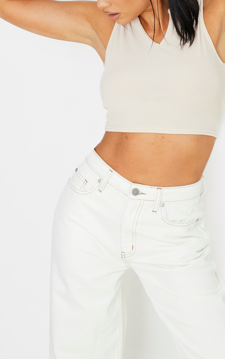 Ecru With Tobacco Contrast Stitch Cropped Baggy Wide Leg Jeans 4