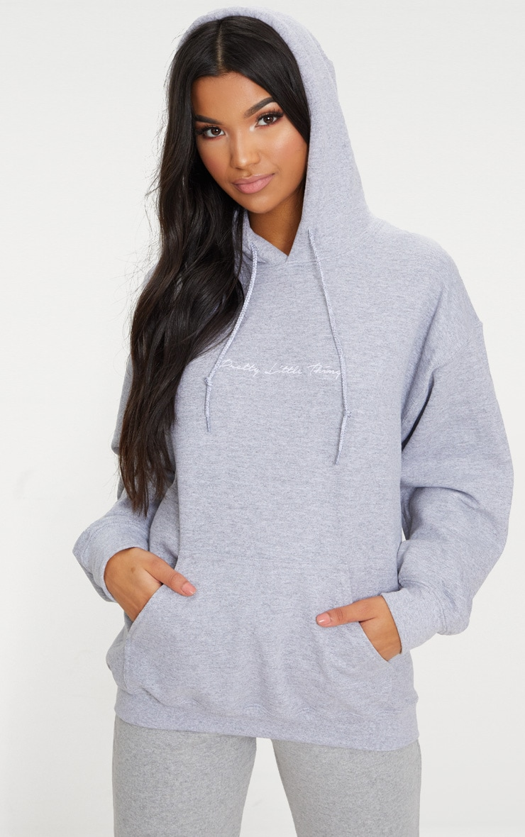 PRETTYLITTLETHING Grey Marl Embroidered Oversized Hoodie 1