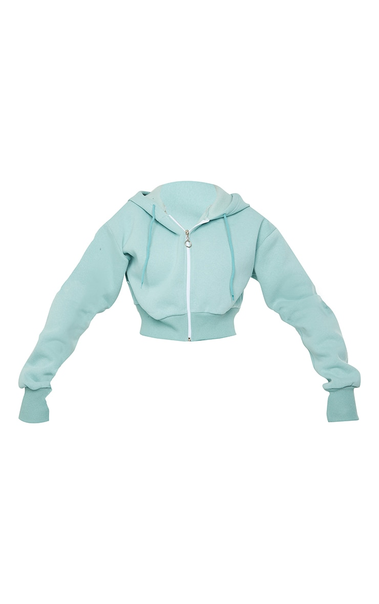 Light Blue Double Zip Through Cropped Hooded Jacket 5