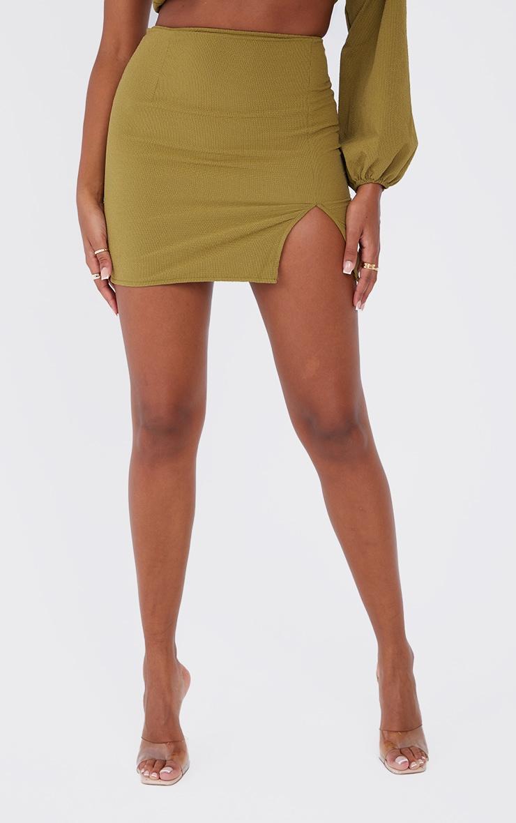 Olive Textured Woven Split Leg Mini Skirt 2