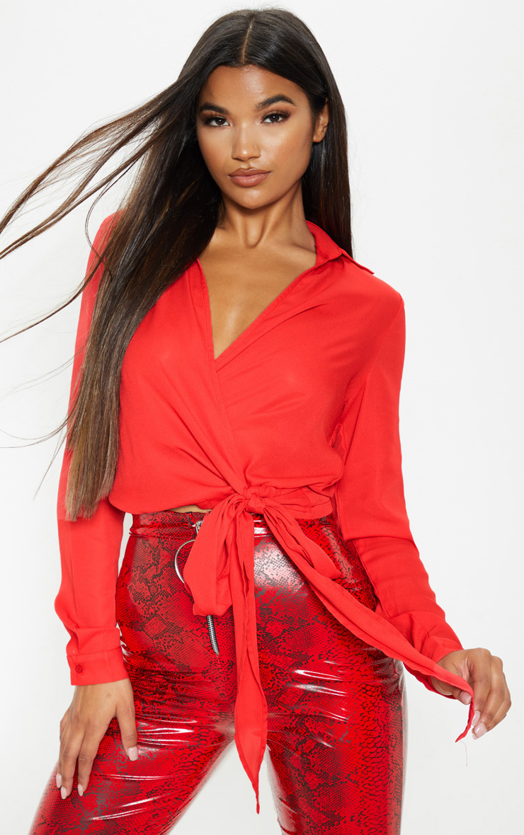 Red Wrap Front Tie Side Blouse 1