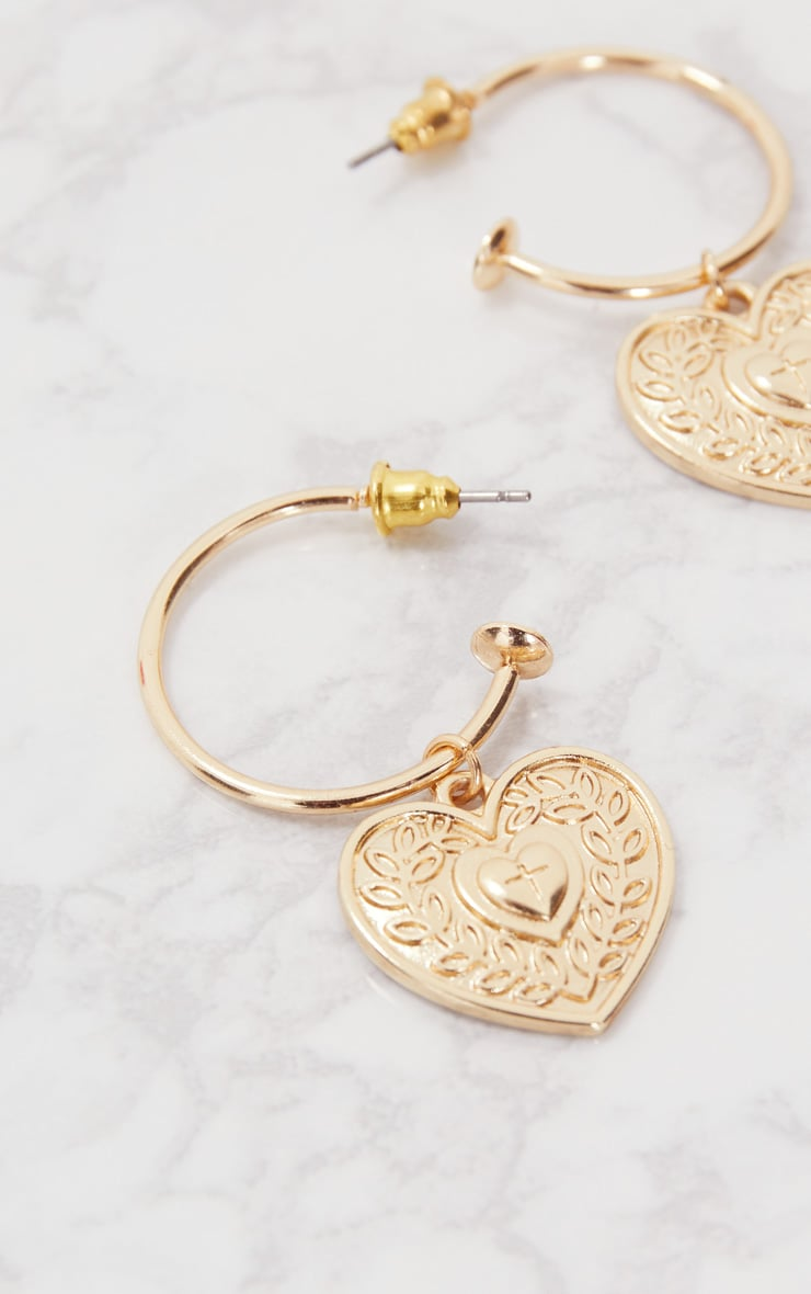 Gold Heart Drop Hoop Earrings 3