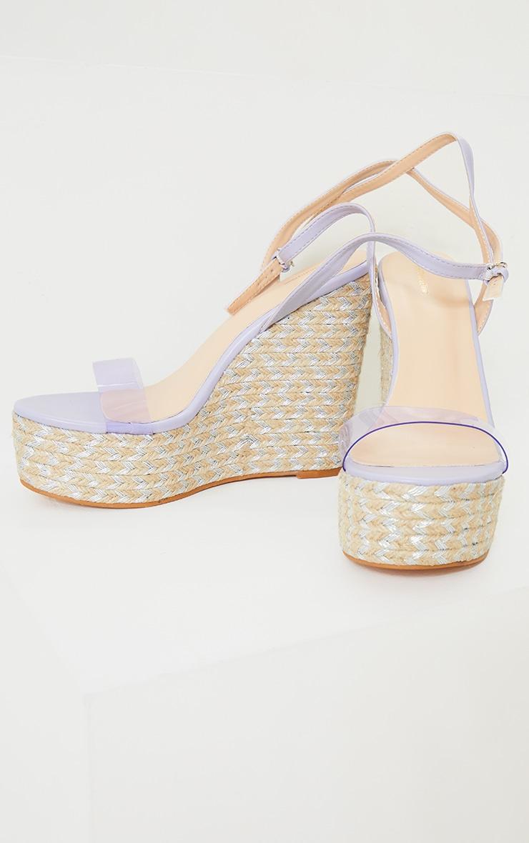 Lilac Clear Strap Raffia Wedges 4