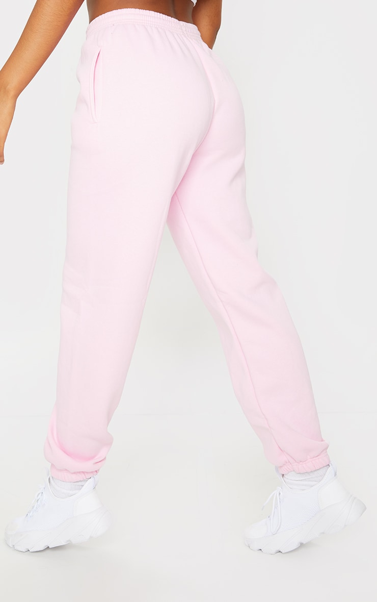 PRETTYLITTLETHING Baby Pink Established Slogan Casual Joggers 3