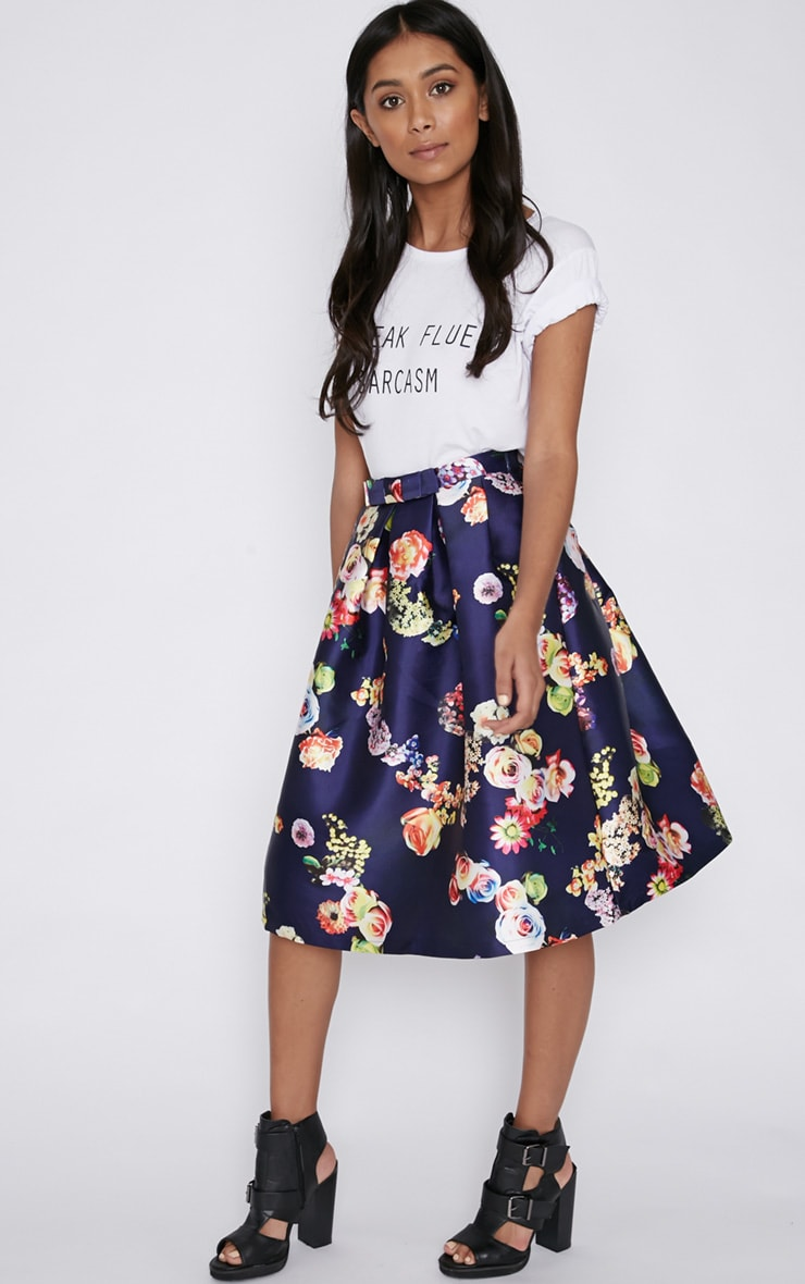 Harley Navy Floral Print A-Line Skirt 3