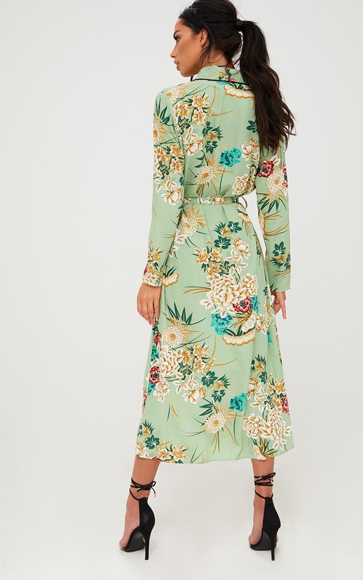 Sage Green Floral Maxi Kimono 2